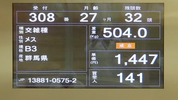 504 kg de carcasse avec un démarrage à 1447 yens par kilo de carcasse pour une conformation médiocre B3
